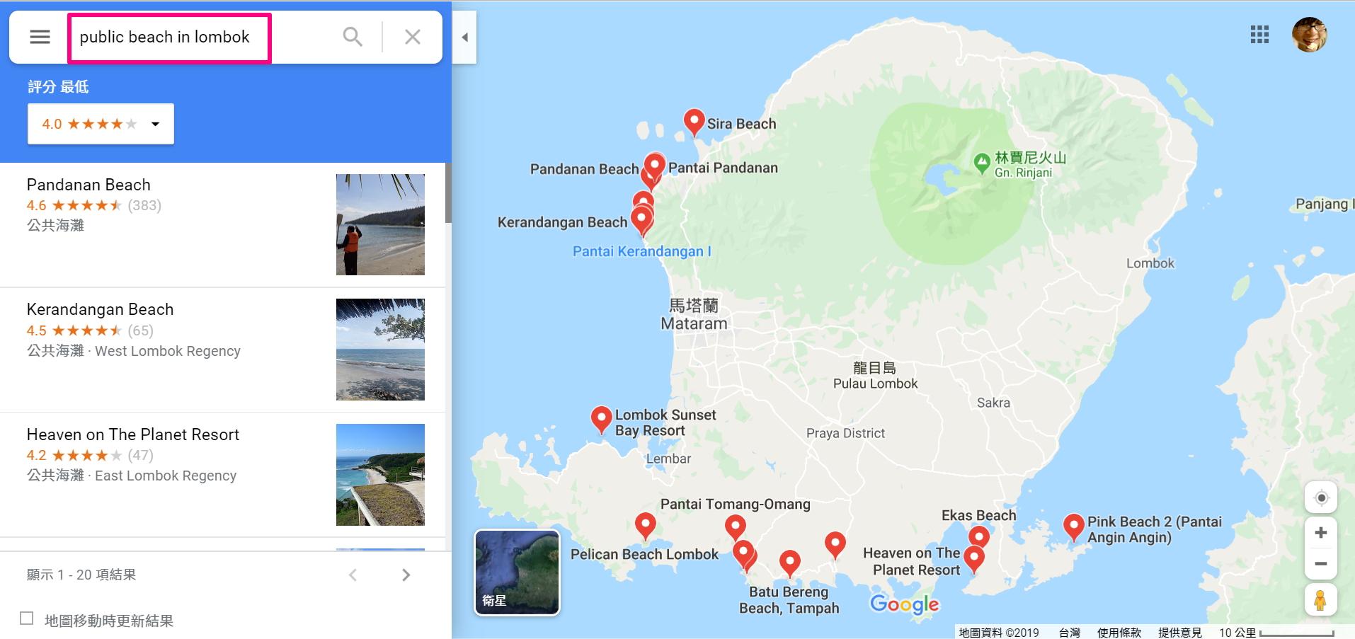 龍目島沙灘分佈